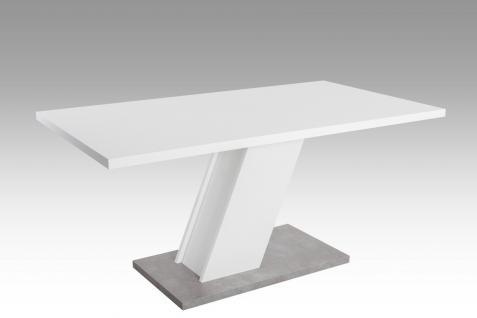 Säulentisch 160 x 90 x 76 weiß Beton Esszimmer Wohnzimmer Küchentisch preiswert
