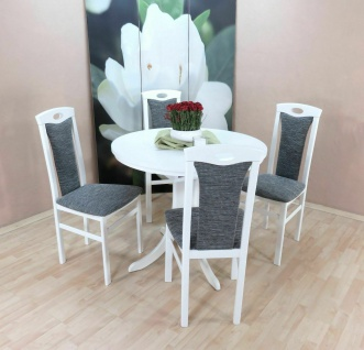 Essgruppe 5 tl.g weiß graphit Tischgruppe modern design Stuhlset Tisch rund