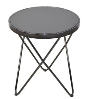 moderner Beistelltisch schwarz rund Glastisch Couchtisch design Sofatisch NEU