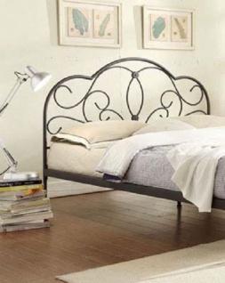 Bett 180 x 200 cm schwarz Ehebett Einzelbett Doppelbett Metallbett Verzierung