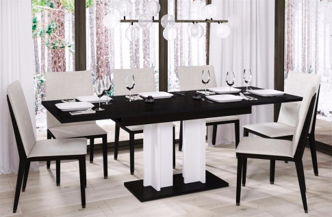 design Säulentisch Wenge weiß ausziehbar 130-210 Esstisch zweifarbig günstig