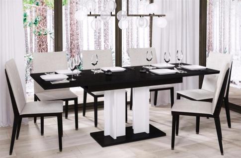 design Säulentisch Wenge weiß edler Esstisch zweifarbig ausziehbar Auszug modern