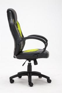 Bürostuhl 120 kg belastbar schwarz grün Kunstleder Chefsessel sportliches design - Vorschau 3