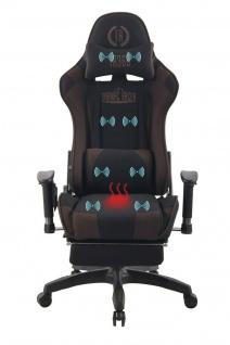 Bürostuhl braun Stoff Chefsessel Wärme- und Massagefunktion Gaming Gamer Zocker