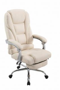 XL Bürostuhl bis 150kg belastbar creme Kunstleder Chefsessel Fußablage Drehstuhl