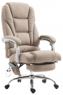 XXL Bürostuhl 150 kg belastbar taupe Stoffbezug Chefsessel Massagefunktion neu