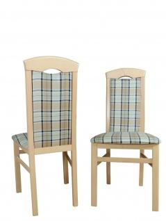 2x Esszimmerstühle massivholz Buche beige braun kariert Polster Stuhlset 2er Set
