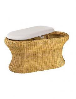 Sitztruhe beige Rattan handgeflochten Wäschetruhe Sitzbank Sitzhocker Wäschekorb