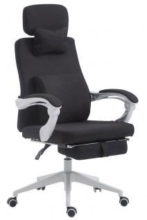 Bürostuhl Stoff schwarz klassisch Chefsessel mit Fußablage hochwertig modern