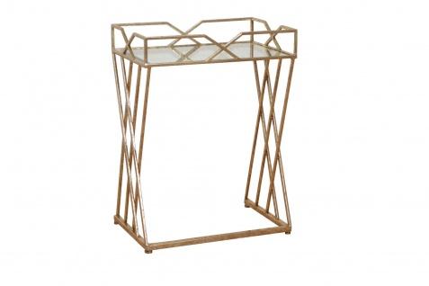 design Konsolentisch Metall-Glastisch Beistelltisch Konsole Antik Gold modern