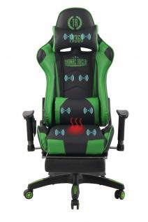 Bürostuhl grün Chefsessel Wärme- und Massagefunktion Gaming Gamer Zocker