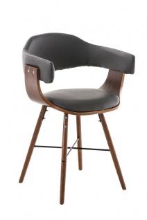 Esszimmerstuhl walnuss Holz grau Kunstleder Küchenstuhl Retro design modern