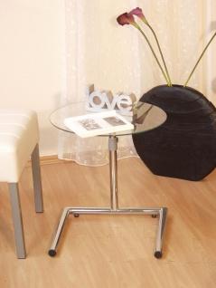 Beistelltisch Tisch Couchtisch Beitisch höhenverstellbar chrom glas Klarglas neu