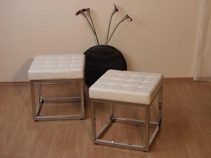moderner Sitzhocker cremefarben mit Polster Chrom Hocker Bank Sitzbank Design