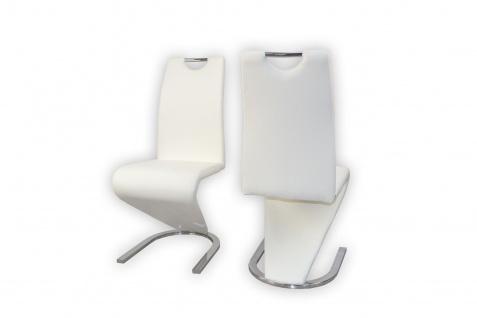 2er Set Stühle weiß Kunstleder Esszimmerstühle Stuhlset Polster modern design