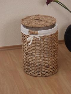 Wäschetruhe natur rund Wäschekorb Wäschesammler geflochten Stoffeinsatz Deckel