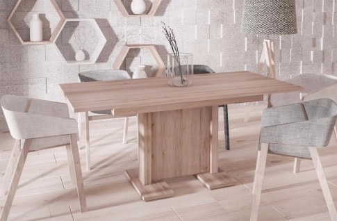 hochwertiger Säulentisch Remo hell 130-210 cm ausziehbar Esstisch modern günstig