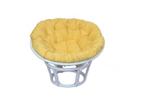 Papasansessel weiß gelb Ø 100 Auflage Kissen Rattansessel Relaxsessel günstig