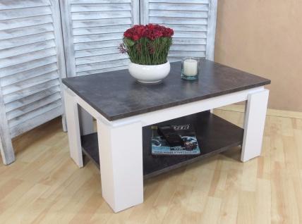 Couchtisch weiß beton anthrazit zweifarbig Sofatisch modern design edel günstig