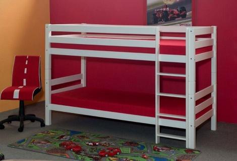 Etagenbett Buche massivholz weiß inkl. Rollrost Hochbett Kinderbett teilbar NEU