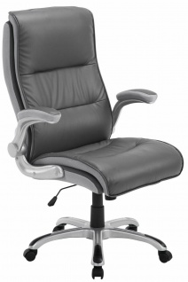 XL Chefsessel 150 kg belastbar Kunstleder grau Bürostuhl große schwere Personen