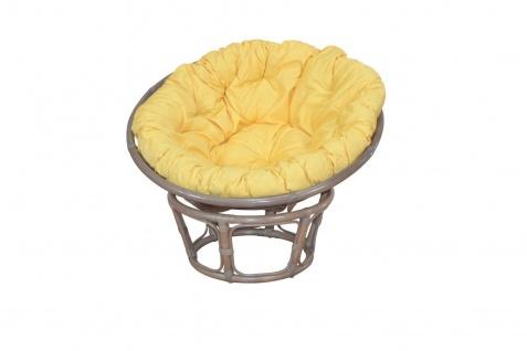 Papasansessel grau Kissen gelb 80 cm Rattan Relaxsessel Korbsessel Auflage neu