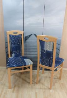 2 x Stühle Buche natur marine blau massivholz Stuhlset günstig modern design