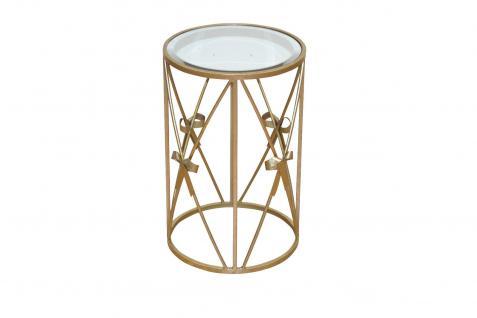 Glastisch Goldfarben rund Tisch Beistelltisch antik romantisch Metalltisch