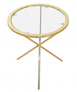 Beistelltisch Messingfarben Tisch Glastisch Couchtisch Glas Glasplatte Messing