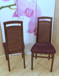 2er Set Stühle nußbaum bordeauxrot massivholz Stuhlset Esszimmerstühle modern