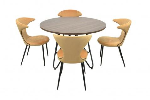 Essgruppe 5-tlg ocker Esstisch rund 4x Stühle Stuhlset Tischgruppe modern design