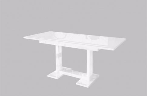 moderner Esstisch Hochglanz weiß ausziehbar Auszugtisch Küche design günstig neu