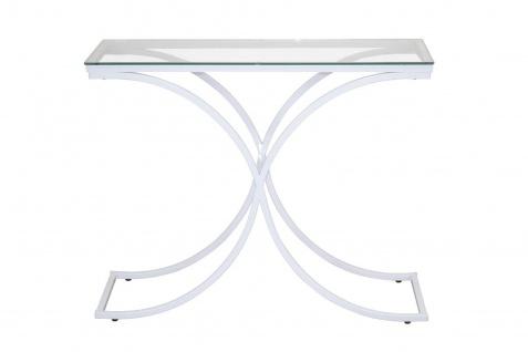 moderner Konsolentisch weiß design Konsole edler Beistelltisch geschwungen Glas