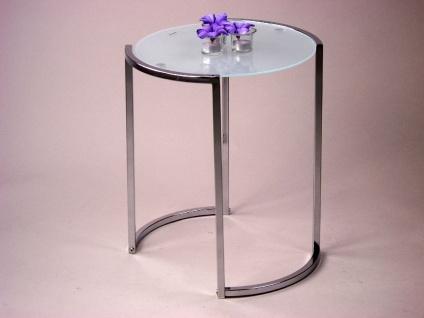 Beistelltisch Tisch Glastisch Glas Milchglas Vierkantstahl Stahl modern design