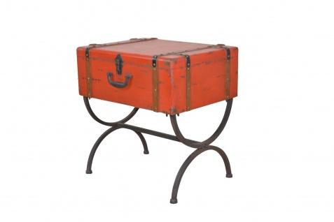 Beistelltisch Koffer Vintage massivholz Beitisch used look Metall Truhe Tasche