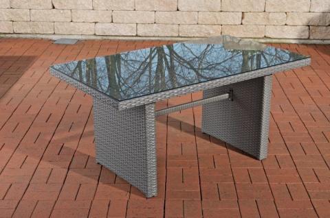 Tisch grau Gartentisch Outdoor Garten Rattan Sofa-Tisch Rattantisch Glastisch - Vorschau 1
