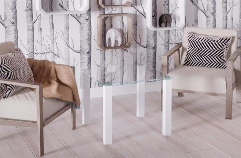 design Glastisch Hochglanz weiß kleiner Beistelltisch edler Couchtisch modern