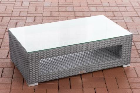 Tisch grau Gartentisch Loungetisch Rattantisch Glastisch flach Outdoor Garten