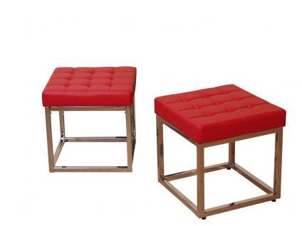 moderner Sitzhocker rot mit Polster Chrom Hocker Bank Sitzbank Design neu