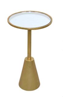 moderner Beistelltisch antik goldfarben design Glastisch Couchtisch rund NEU