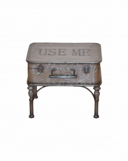 Couchtisch Koffer Metall Beistelltisch Vintage used look design antik grau neu