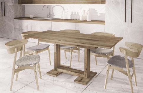 design Esstisch Remo Trüffel 130-210 ausziehbar Auszugtisch Küche günstig modern