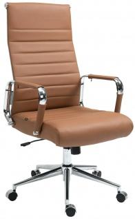 Bürostuhl 136 kg belastbar hellbraun/chrom Echtleder Chefsessel Drehstuhl stabil