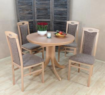 Tischgruppe Buche massiv natur cappuccino Tisch rund Stühle günstig preiswert