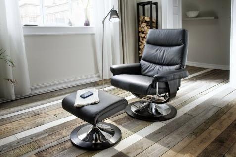Relaxsessel Echtleder schwarz inklusive Fußablage Hocker Sessel modern design