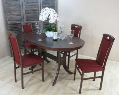 moderne Tischgruppe 5 tlg. massiv nussbaum bordeaux Tisch günstig preiswert
