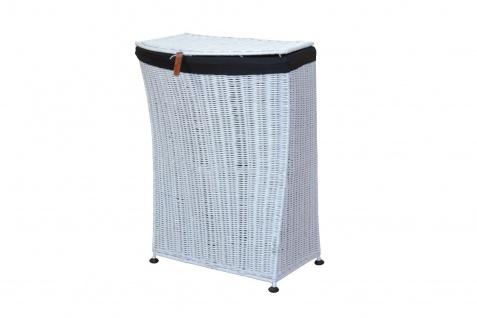 Wäschekorb mit 2 Stoffeinsätzen und Deckel weiß Rattan Wäschebox Wäschesammler