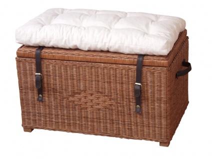 Wäschetruhe braun ohne Kissen Sitztruhe Wäschekorb Holztruhe massiv günstig neu