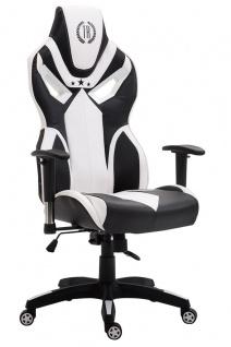 Bürostuhl 150 kg belastbar schwarz weiß Kunstleder Chefsessel Zockerstuhl Gaming
