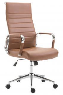 Chefsessel Kunstleder braun Bürostuhl modern design hochwertig geschwungen neu